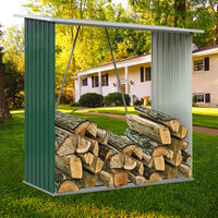 Garden Firewood Log Shed Storage Stand Tool House, Green