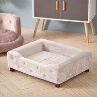 Velvet Pet Sofa Bed Dog Cat Puppy Couch Soft Cushion Basket Chair Seat Lounger, Beige