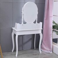 Dressing Table Set Cushioned Stool with Mirror Drawer Modern Bedroom Makeup Desk