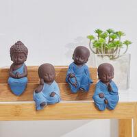 Set of 4 Cute Sitting Buddha Monk Figurine Table Ornaments