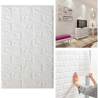 10PCS 3D Wall Sticker Self-adhesive Foam Panels Tile Brick Stickers, 30 x 60CM