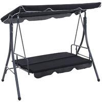 Outdoor Garden Swing Chair Foldable 2-in-1 Hammock Canopy Bench, Black
