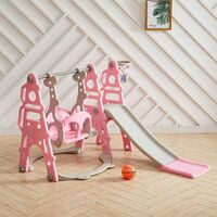 3-in-1 Kids Garden Swing Slide & Climber Set Basketball Hoop Children Playground, Pink
