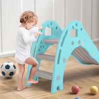 Folding Kids Toddler Climber Slide Set Indoor/Outdoor Playground, Blue