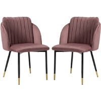 2x Velvet Dining Chairs Kitchen Dining Room Restaurant Office Chair Metal Legs, Grey&Pink