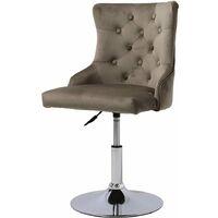 Breakfast Stools Velvet Chairs Chrome Base Swivel Adjustable Chair, Brown