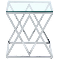 Tempered Glass Side End Table with Stainless Steel Chrome Legs