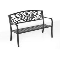 Metal Garden Bench 2-3 Seater Porch Patio Park Chair Seat Outdoor Black Armchair