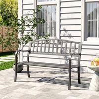 Black Garden Bench Patio Chair Cast Iron Metal Slat Seat Backrest Outdoor Picnic