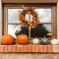 45CM Halloween Fall Pumpkin Wreath Autumn Maple Leaf Garland With LED Light