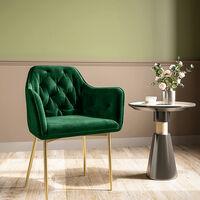 Kitchen Dining Chair Living Room Velvet Armchair Metal Legs Soft Padded Seat, Green