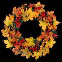 40CM Christmas Halloween LED Artificial Maple Leaf Autumn Wreath