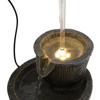 Solar Power Outdoor Bucket Tap Fountain Garden Water Feature LED Light Statues