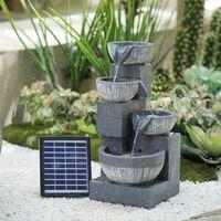 4 Tier Garden Bowl Fountain Resin Water Feature LED Backlight Cascading Outdoor