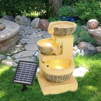 3 Tiers Solar Bowl Fountain Gold Outdoor Water Feature LED Lights Garden Statues