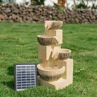 4 Tier Solar Powered Garden Water Feature Cascading LED Fountain Outdoor Decor