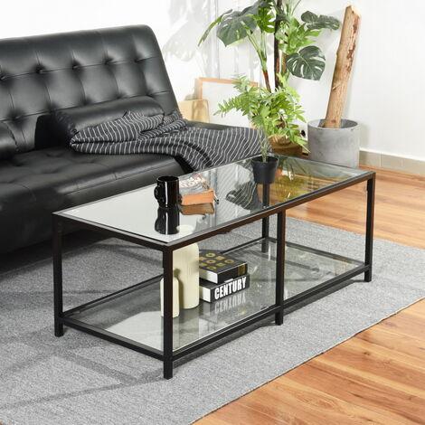 Table basse rectangulaire verre transparent métal
