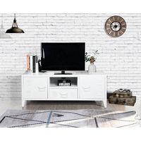 Meuble tv caisson métal casier 2 portes blanc 1 tiroir 1 niche