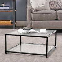 Table basse carrée verre métal noir