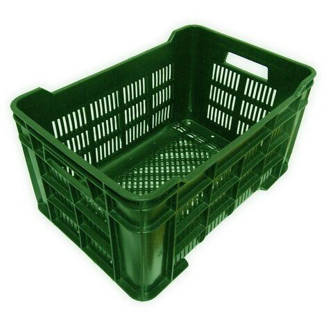 Cassa in Plastica completamente forata 60 l Confez. da 6 pz. Mis esterna cm (LxPxH) 60x40x31 Capacità Lt 60 Colore Verde Versione Base e Pareti forate Peso Kg 2,15