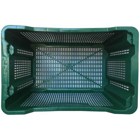 Cassa in plastica per olive verde 40 l Confez. da 10 pz. Mis esterna cm (LxPxH) 55x36x31 Capacità Lt 40 Colore Verde Versione Base e Pareti forate Peso Kg 1,36 Modello INSERIBILE