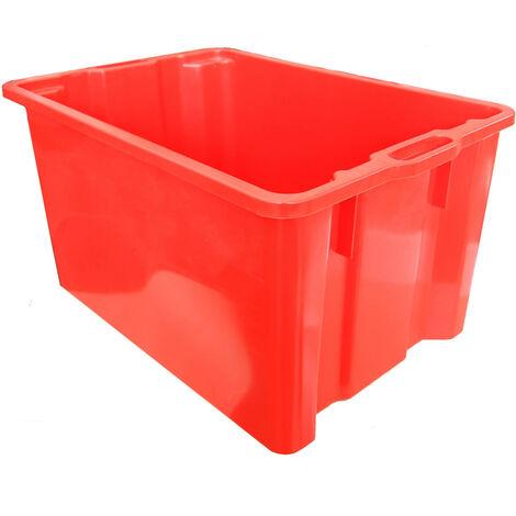 Cassette in plastica per raccolta, uva, ortaggi, 65 litri Mis esterna cm (LxPxH) 63x44x33 Capacità Lt 65 Colore Rosso Versione Base e Pareti lisce Peso kg 2,2