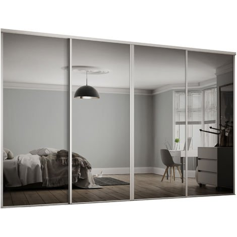 Spacepro 4x914mm Hertiage White Framed Mirror Sliding Doors H2260 W3606mm