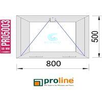 VENTANA PVC 800x500 BLANCA ABATIBLE (GOLPETE) VIDRIO TRANSPARENTE CLIMALIT