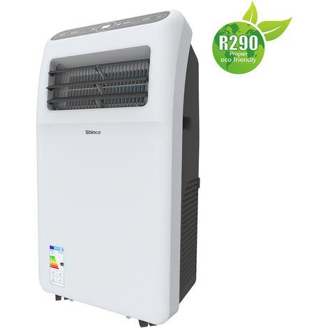 Shinco Climatiseur Mobile 9.000 BTU ~80 m³/ 34 m² Climatiseur Portable 2,6 kW Eco R290 [Classe énergétique A]