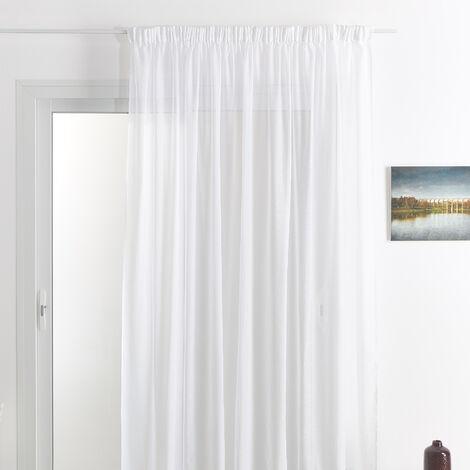 Rideau voilage classique uni polyester-lin avec bas plombé Blanc 240 x 240 cm - Blanc