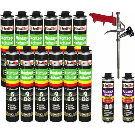 Isolbau B2 Set de 12 flacons de 750 ml de mousse expansive 1K base de polyuréthane - avec 2 nettoyants et 1 pistolet