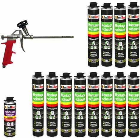 Isolbau B2 Ensemble de 12 flacons de 750 ml de mousse expansive 1K base de polyuréthane + 1 nettoyant + 1 pistolet