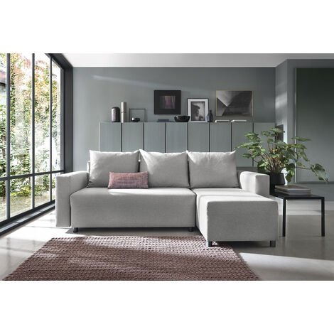 Oslo Corner Sofa Bed with Underneath Storage in Grey Linen Fabric - Right - color Grey