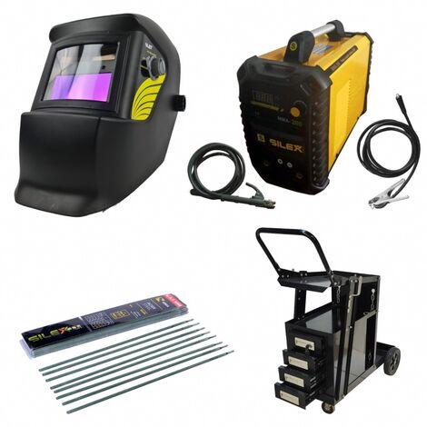 Pack poste à souder MMA IGBT/inverter 200A + cagoule 100KNO +chariot 4 tiroirs + 50 électrodes Silex ®