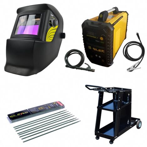 Pack poste à souder MMA IGBT/inverter 200A + cagoule 100KNO +chariot  + 50 électrodes Silex ®