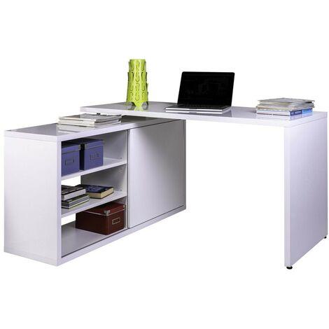 Scrivania Porta Computer Angolare.Scrivania A L Bianco Lucido Angolare Porta Pc Computer Mobile Ripiani Ufficio