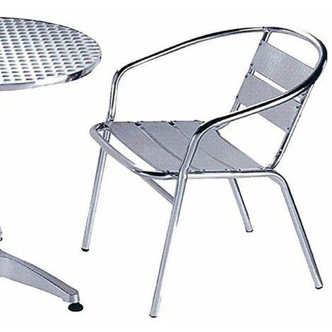 Sedia Poltrona In Alluminio Con Braccioli Da Tavolo Bar Pub Per Esterno Giardino