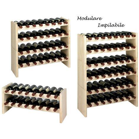 Cantina Vino Modulare in Legno Portabottiglie Cantinetta Scaffali Impilabile