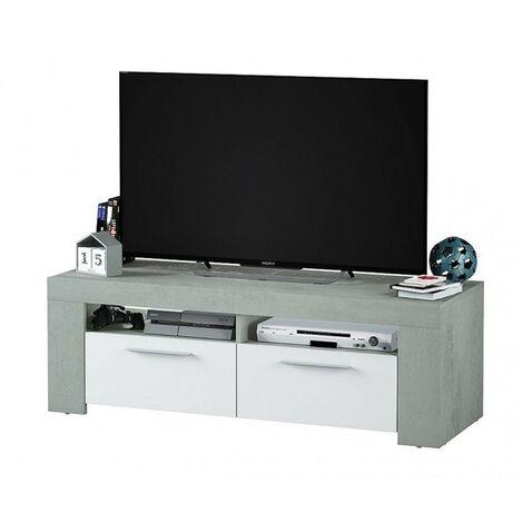 Mobile Basso Porta Tv Moderno Bianco Grigio Soggiorno Parete Mobiletto In Legno
