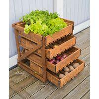 Cassettiera da Esterno Frutta Verdura in Legno 4 Cassetti Giardino Terrazzo Orto