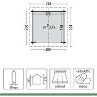 Casetta 2x2 in Legno 19mm da Giardino Armadio Esterno Porta Attrezzi Blockhouse