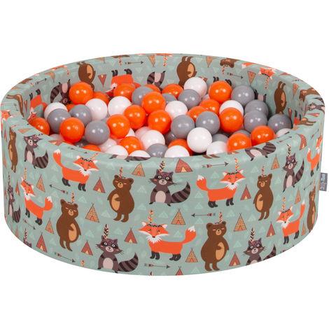 KiddyMoon 90X30cm/300 Balles ∅ 7Cm Piscine À Balles Pour Bébé Rond Fabriqué En UE, Renard-Vert:Orange/Gris/Blanc