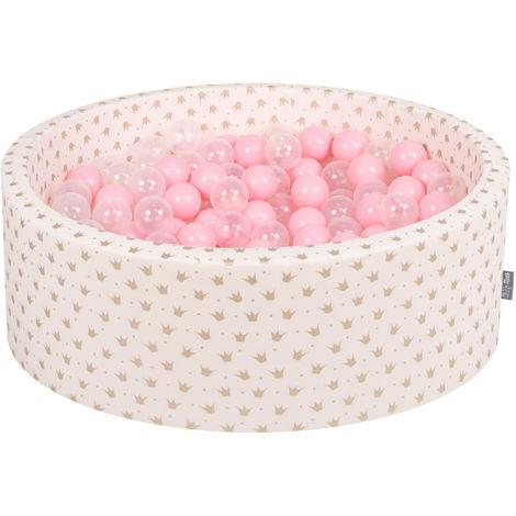 KiddyMoon 90X30cm/200 Balles ∅ 7Cm Piscine À Balles Pour Bébé Rond Fabriqué En UE, Or-Ecru:Rose Poudré/Transparent