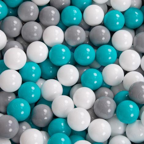Gris Clair:Turquoise Clair//Blanc//Transparent//Turq. KiddyMoon 90X40//Sansballes Piscine /À Balles pour B/éb/é Rond Fabriqu/é en UE