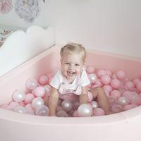 KiddyMoon 90X30/Sansballes Piscine À Balles Pour Bébé Quart Angulaire Fabriqué En UE, Rose