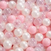 KiddyMoon 90X30cm/200 Balles ∅ 7Cm Carré Piscine À Balles Pour Bébé Fabriqué En UE, Gris Clair: Rose Poudré/Perle/Transparent