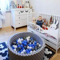 KiddyMoon 90X40cm/200 Balles ∅ 7Cm Carré Piscine À Balles Pour Bébé Fabriqué En UE, Gris Clair: Baby Blue/Rose Poudré/Perle