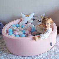 KiddyMoon 90X40/Sansballes Carré Piscine À Balles Pour Bébé Fabriqué En UE, Rose