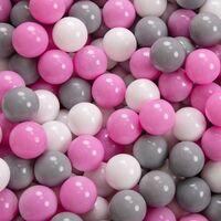 KiddyMoon 90X30cm/300 Balles ∅ 7Cm Piscine À Balles Pour Bébé Rond Fabriqué En UE, Gris Foncé: Gris/Blanc/Rose