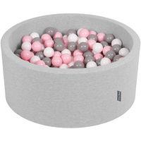 KiddyMoon 90X40cm/200 Balles ∅ 7Cm Piscine À Balles Pour Bébé Rond Fabriqué En UE, Gris Clair:Blanc/Gris/Rose Poudré